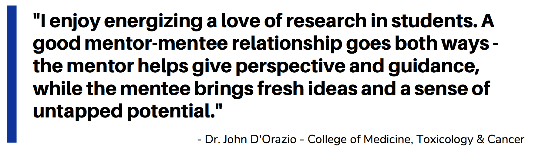 I enjoy energizing a love of research in students. A good mentor-mentee relationship goes both ways - the mentor helps give perspective and guidance, while the mentee brings fresh ideas and a sense of untapped potential. Dr. John D'Orazio